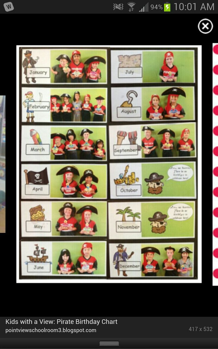 Pirate Classroom Birthday Chart 3rd Grade