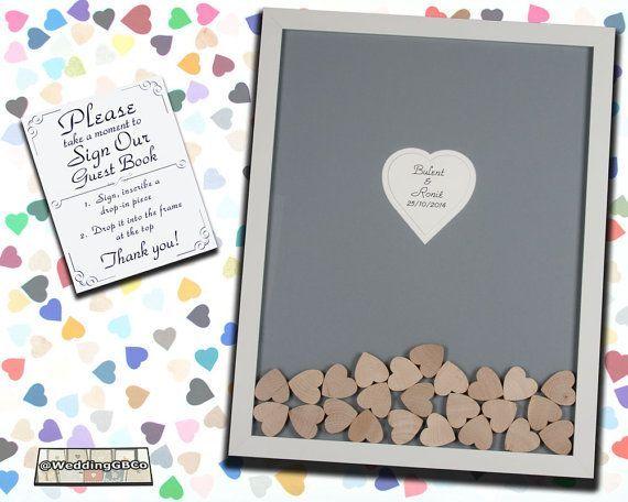 Unique Wedding Guest Book Alternative Drop Box Idea In Top Wood Heart Guestbook Frame