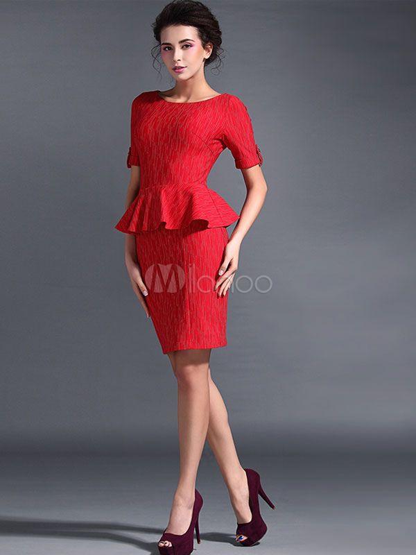 Scoop Neck Rüschen kurze Ärmel gefälschte zweiteilige Kleid -No.2