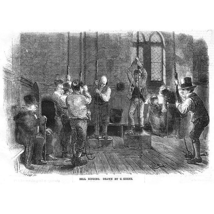 CHRISTMAS Bell Ringing by C Keene - Antique Print 1856