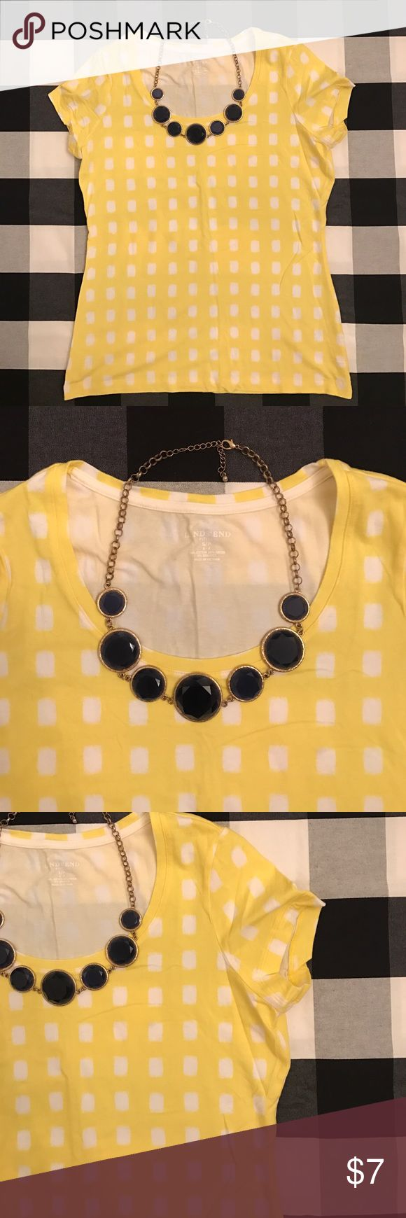 Lands End yellow checkered t-shirt Lands End women's fitted t-shirt in a fun summer print! Yellow and white large checkered pattern on a cotton blend. Brighten up your closet today!  All items from a smoke-free, pet-friendly home, laundered in All Free & Clear. Willing to negotiate and bundle. Ask me any questions! Lands' End Tops Tees - Short Sleeve
