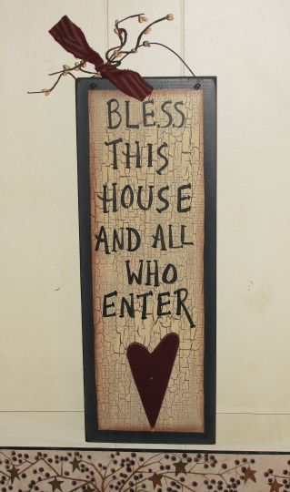 Bless This House And All Who Enter Sign With Star Heart