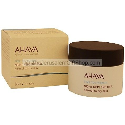 Ahava 'Time to Hydrate' Night Replenisher Powered by Osmotor™ Ahava's exclusive blend of minerals, sourced from the wonderous Dead Sea waters.  This velvety cream regenerates the skin with natural hydration when at rest, leaving it deeply nourished, revived and remarkably soft.  Normal to Dry skin types. Size: 50ml / 1.7 Fl. Oz. Approved for sensitive skin. Allergy tested. Paraben free. Made in Israel.