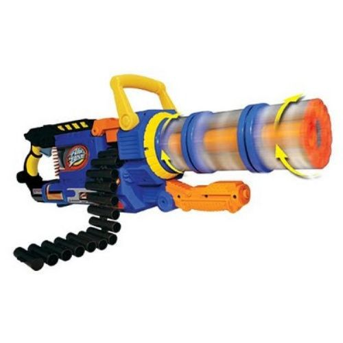 The Rhino Fire is a mounted, double barrel, heavy machine gun. Fully  automatic (requiring six D batteries) with a high rate of fire and a range  of up to 90 ...