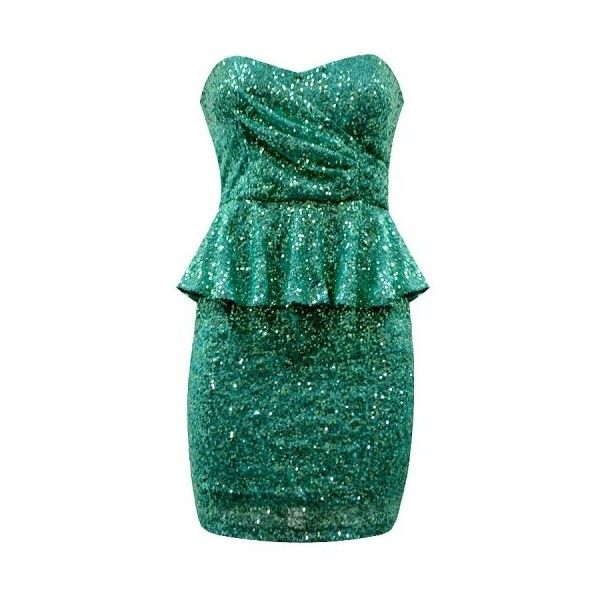 SEQUIN BANDEAU PEPLUM DRESS ($20) ❤ liked on Polyvore featuring dresses, green, sparkle, sequin embellished dress, sequin peplum dress, peplum dress, green dress and sparkly cocktail dresses