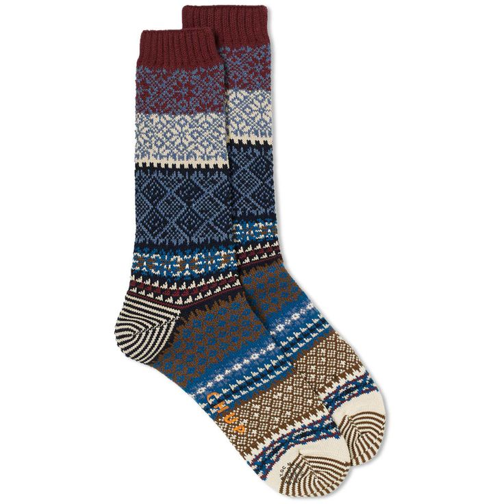Founded in the early 90s in Japan by Mitsuru Hashimoto, Glen Clyde Company's CHUP Socks return to END. this season. Based on the motif of traditional Norwegian knitting, this Lys pair – meaning 'shine' in Norwegian – boast a finely detailed pattern throughout, designed to evoke the northern lights. Cotton Mix Ribbed Ankle Cuffs Printed Logo to the Sole Made in Japan