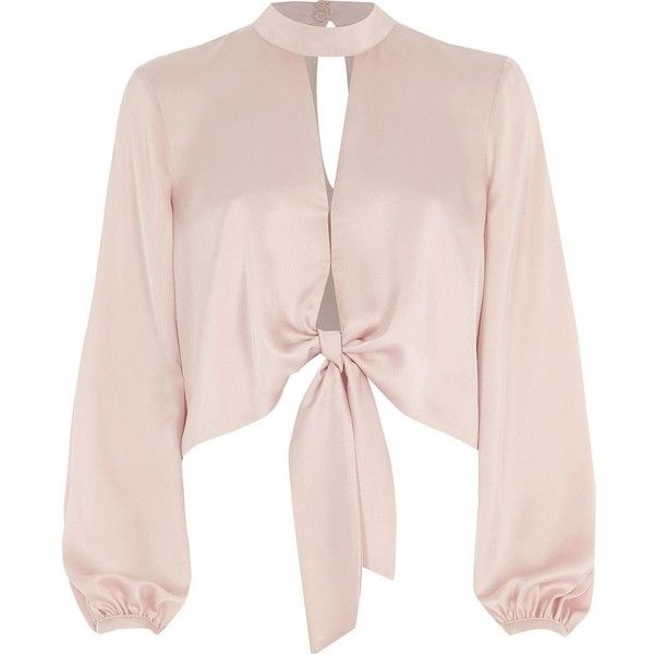River Island Light pink tie front long sleeve crop top ($60) ❤ liked on Polyvore featuring tops, crop tops / bralets, pink, women, tall tops, satin crop top, tie front top, light pink crop top and cut-out crop tops