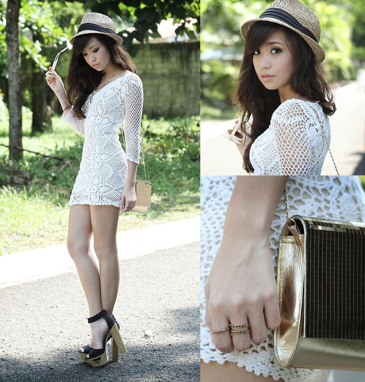 knit dress + fedora + acessories