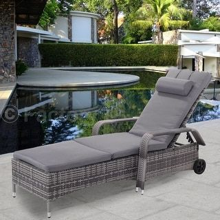 Shop for Costway Outdoor Chaise Lounge Chair Recliner Cushioned Patio Furni Adjustable W/Wheels. Get free delivery at Overstock.com - Your Online Garden & Patio Shop! Get 5% in rewards with Club O! - 23097219