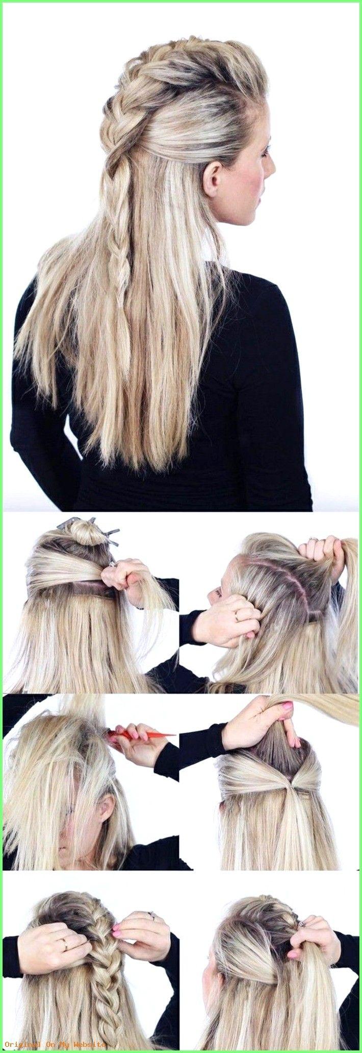 Frisuren Lange Haare 2019 – schnelle-frisuren-mittellange-blonde-glatte-haare-zopf-frisieren-…