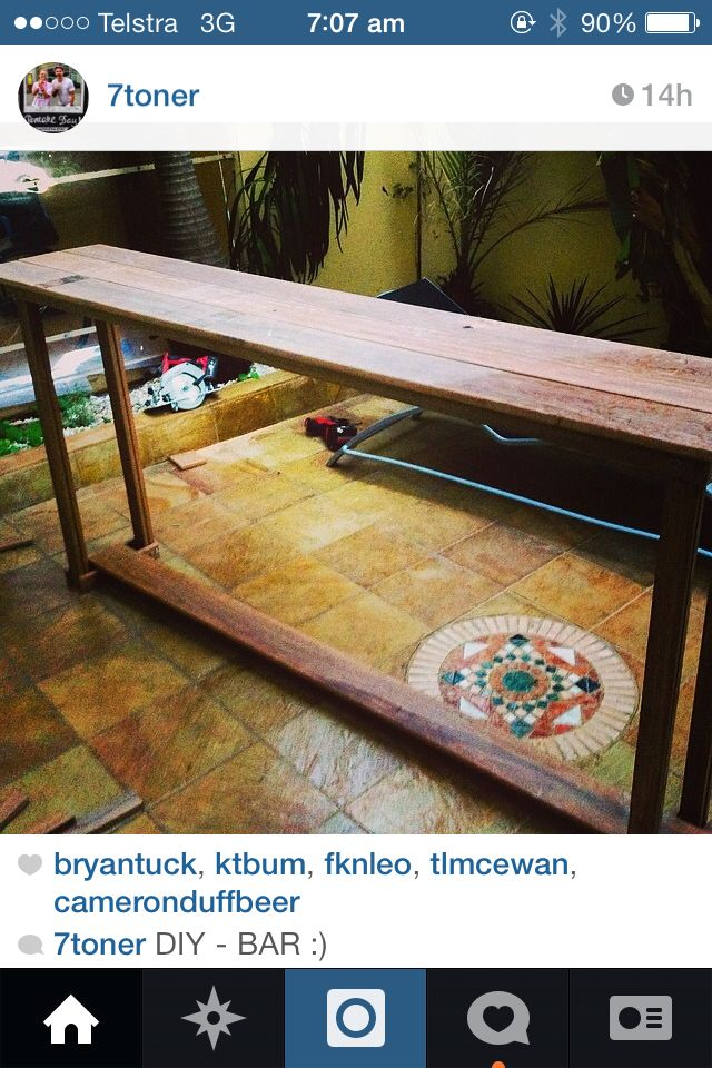 Home made bar table by Michael Brotherstone
