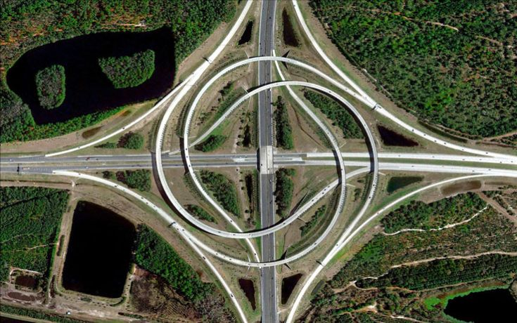 Incredible satellite pictures shot by artist Benjamin Grant show off the   diversity of planet earth. Turbine interchange, Jasksonville, Florida.