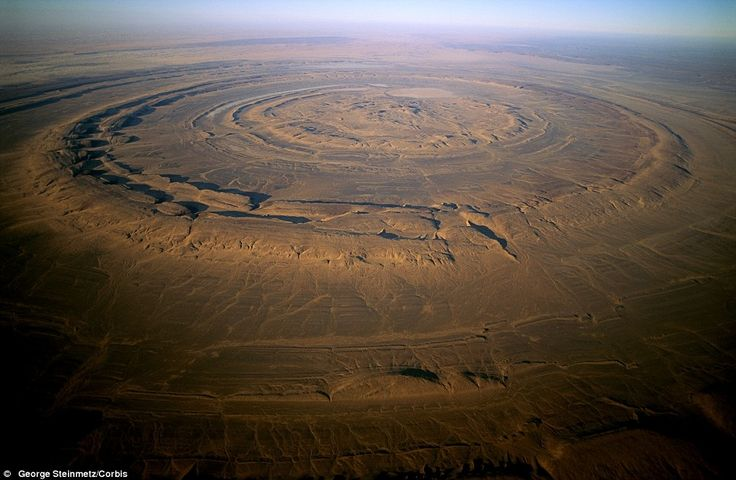 The Richat Structure of Guelb er Richat in Mauritania. Originally thought to be a meteorite impact, it is now known to be a volcanic bulge that never erupted and was leveled by erosion