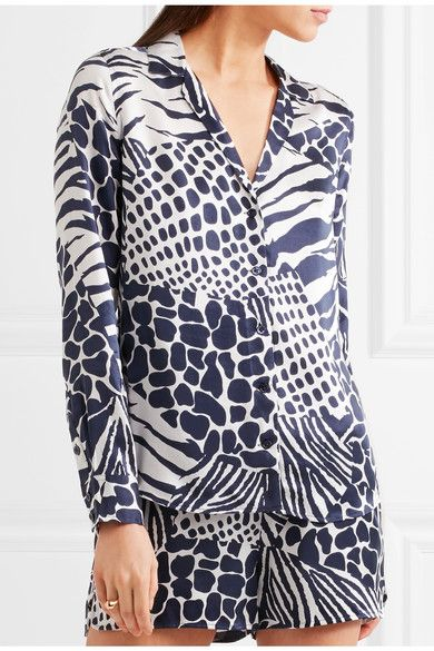 Equipment - Adalyn Animal-print Washed-silk Shirt - Midnight blue -