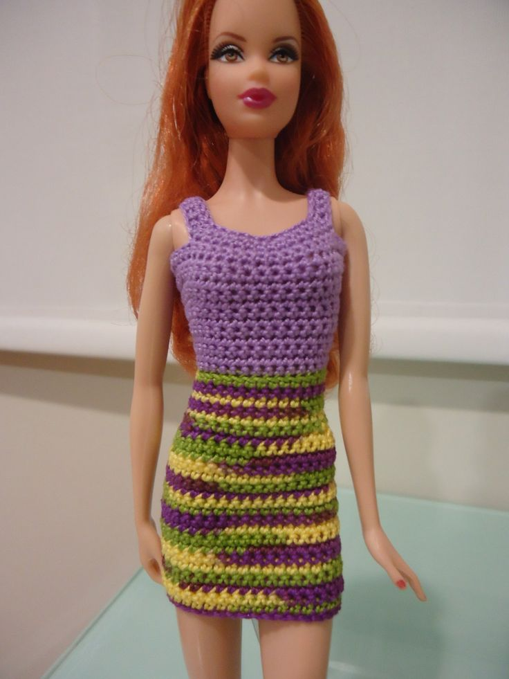 free crochet pattern for sheath dress for Barbie.