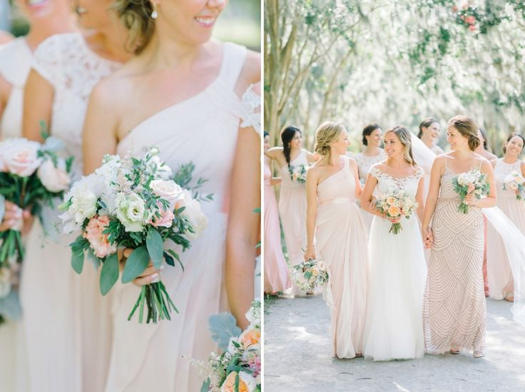 Bride with her 10 bridesmaids in mismatched blush and gold bridesmaid gowns, walking under Spanish Moss in a park in Charleston, SC // bouquets with Juliet Roses *** Aaron and Jillian Photography