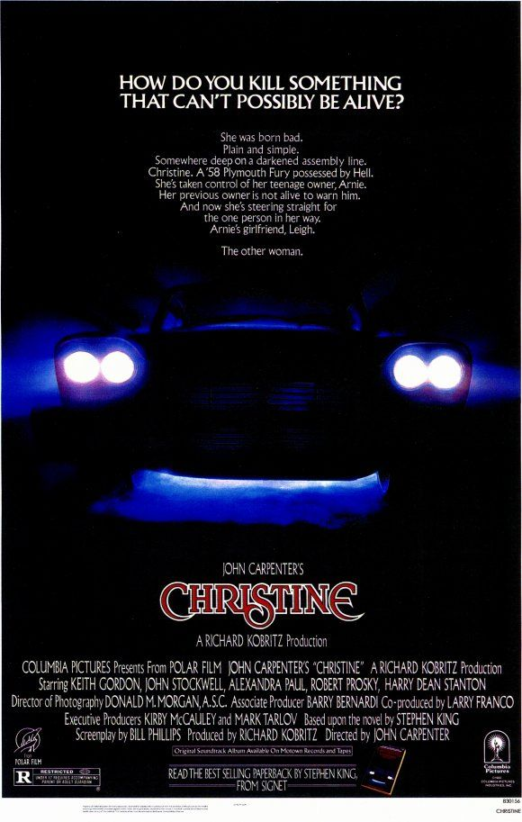 Christine , starring Keith Gordon, John Stockwell, Alexandra Paul, Robert Prosky. A nerdish boy buys a strange car with an evil mind of its own and his nature starts to change to reflect it. #Drama #Horror #Mystery #Thriller