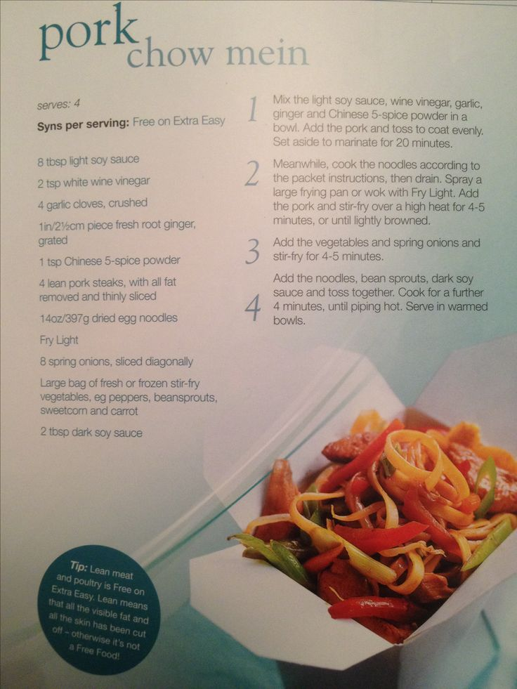 Slimming world syn free pork chow mein