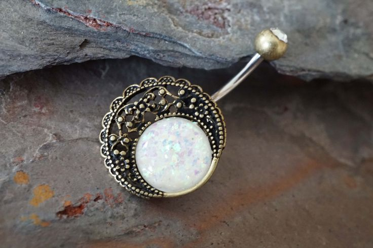 Gold Belly Button Rings Opal Moon