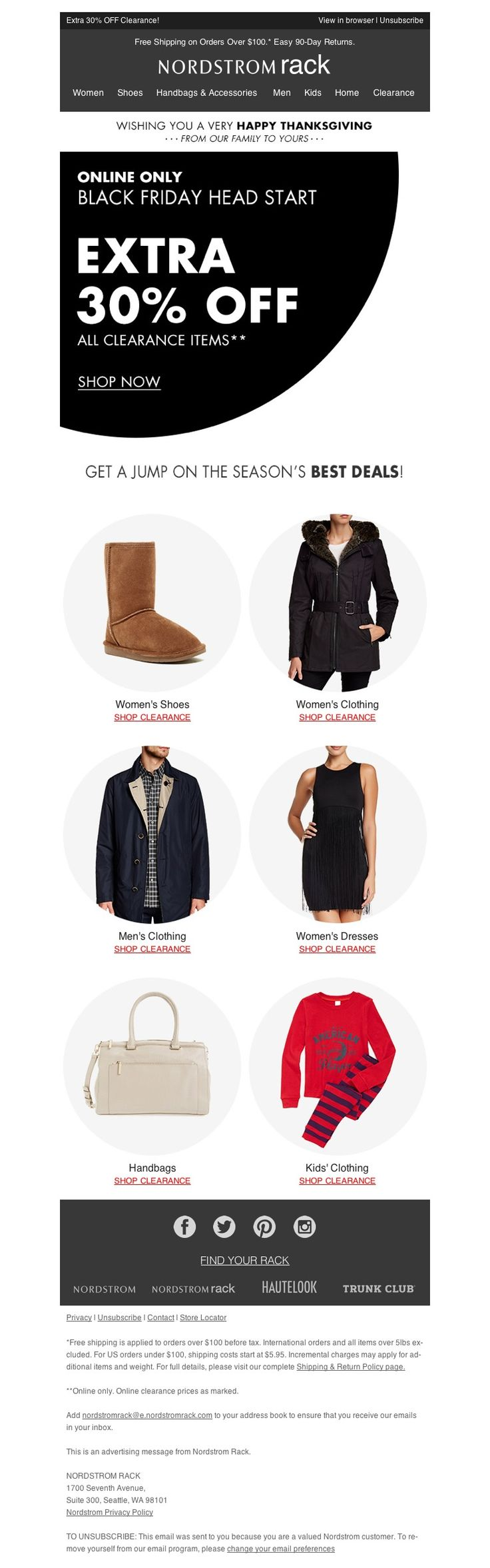 Nordstrom Rack -  11/26/15 SL: Head Start: Black Friday Weekend!
