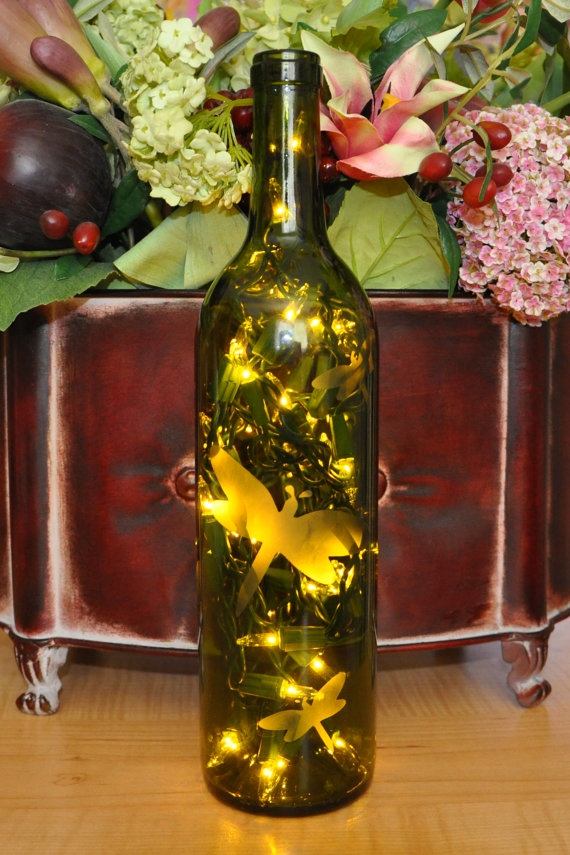 Dragonfly Etched Lighted Wine Bottle Lamp by TipsyGLOWs on Etsy, $15.00Lights Wine Bottle, Etchings Lights, Diy Crafts, Bottle Lights, Decor Wine Bottle, Wine Bottle Lamps, Gift Cards, Dragonflies Etchings, Lighted Wine Bottles