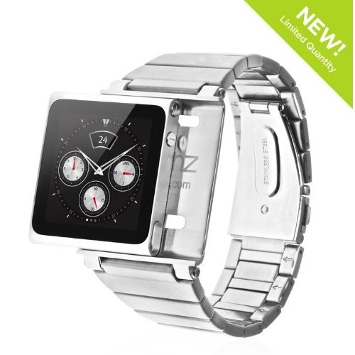 Hot Sale Elemetal Watch Wrist Strap for iPod Nano 6G - (Stainless Steel, Silver)