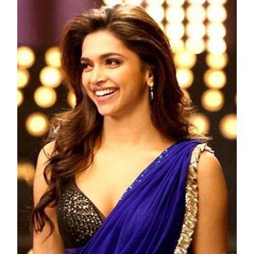 gorgeous Deepika Padukone in royal blue saree, face of bollywood
