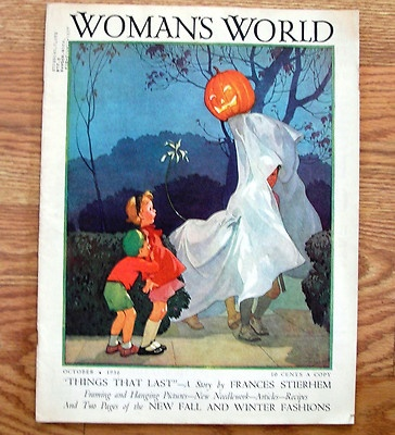 vtg 1936 womans world magazineoct halloween covermildred hurfordrarevgc - Halloween Magazines