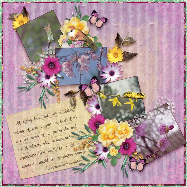 Spring Bursts Forth by Moog. Kit used: Flower Symphony http://scrapbird.com/designers-c-73/a-c-c-73_514/aadesigns-c-73_514_395/flower-symphony-kit-by-aadesigns-p-15176.html