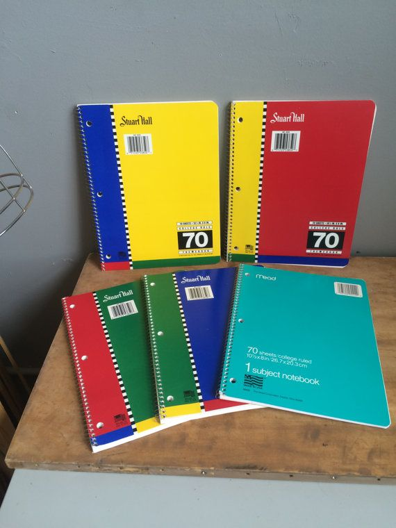 Vintage Kitsch 1990s Back to School Stuart Hall and Mead Spiral Notebook Set Old School College Ruled by ATOMICDOG67