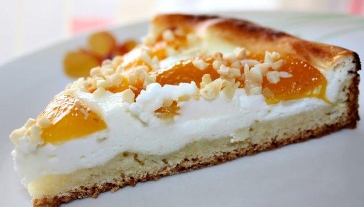 Персиковый пирог с творогом