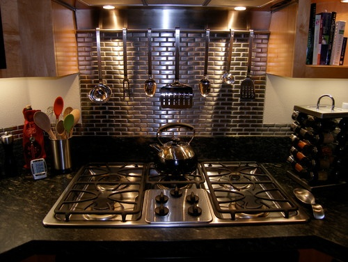 Kitchen Stainless Steel Tile Backsplash Behind The Stove Only