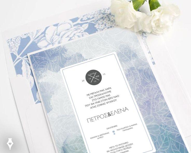 Κομψό και μοντέρνο προσκλητήριο γάμου σε γαλάζιους τόνους με φοδραριστό φάκελο. #προσκλητήριο #γάμου #μοντέρνο #κομψό #γαλάζιο #υδατογράφημα #λευκό #wedding #invitation #hydrangeas #envelope #blue #white #modern #elegant
