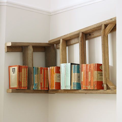 Ladder transformed into a corner bookshelf
