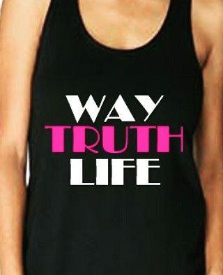 women's black tank top. Way. Truth. Life