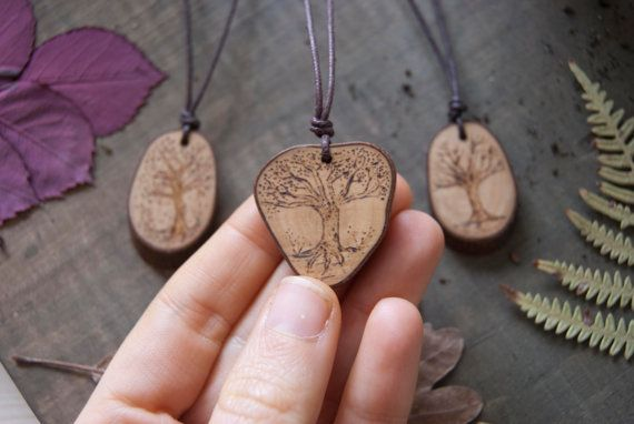 Wooden trees necklaces by MadrigueraDeCarlota on Etsy