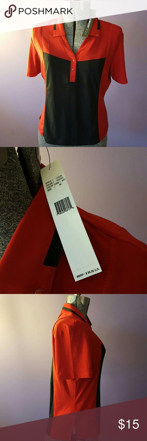 DKNY Women's Golf Shirt Poly/Spandex blend. Side vents.  Never worn. DKNY Tops Button Down Shirts