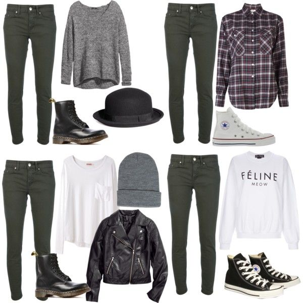 Requested: outfit w/ dark green jeans by nikkiwilletts on Polyvore featuring R13, Brian Lichtenberg, H&M, Organic by John Patrick, Dondup, Converse, Dr. Martens and Boohoo
