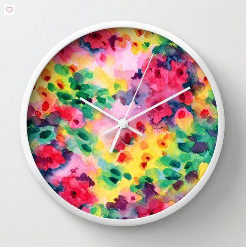 Watercolor wall clock, modern home decor, watercolor floral clock colorful…