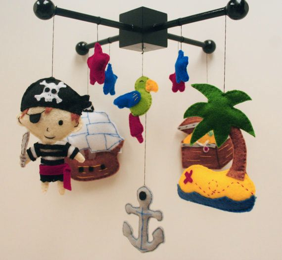 Pirate Felt Baby Mobile - parrot, ship, anchor, treasure, island, stars.