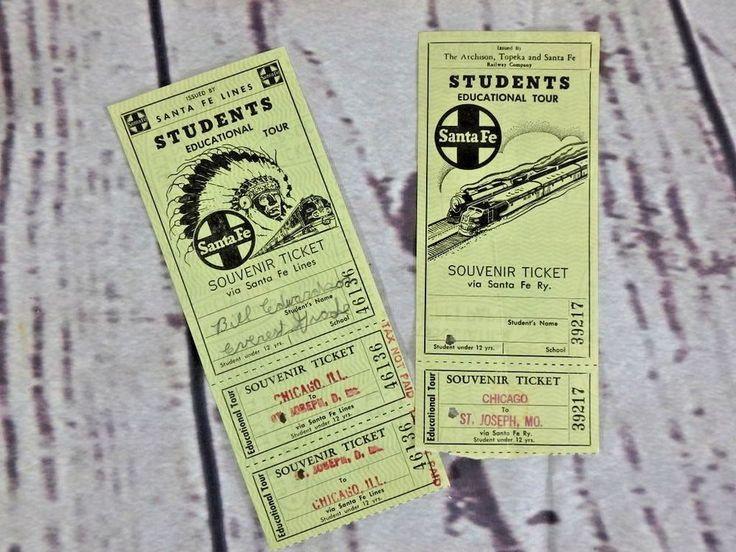 Lot of 2 1950s? Santa Fe Railroad Students Educational Tour Passenger Tickets