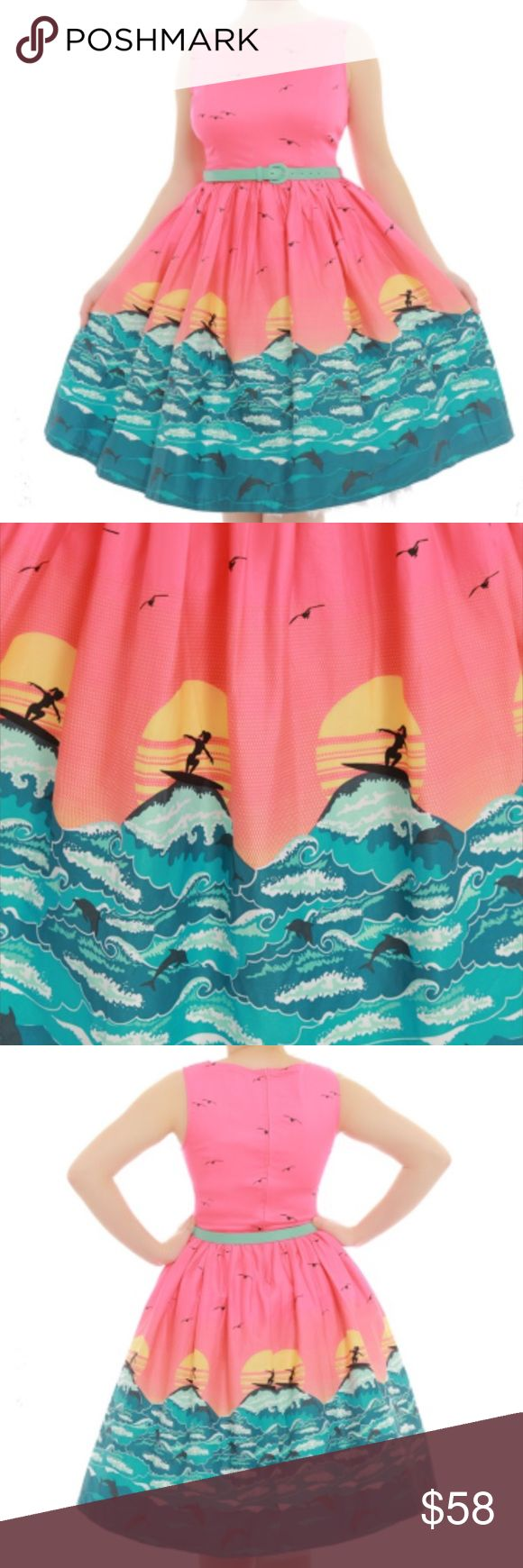 Lindy Bop Audrey dress in Pink Surfer Brand new with tags! Never worn! Wonderful sturdy cotton dress, provides some stretch. Belt included. UK 14/ US 10. Size chart comes from Lindy Bop website. ModCloth Dresses Midi