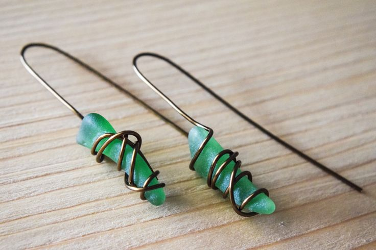 SUMMER SALE! Antique brown wire wrapped genuine greek green sea glass, summer trend,  boho earrings, statement earrings, beachwearing by Christinasfamily on Etsy