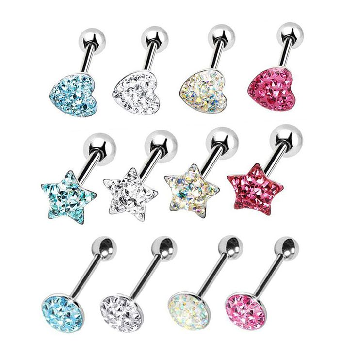 Serce Gwiazda Round Top Prosty Barbell Tongue Pierścień CZ Kryształ Epoksydowe Body Piercing Biżuteria 14G