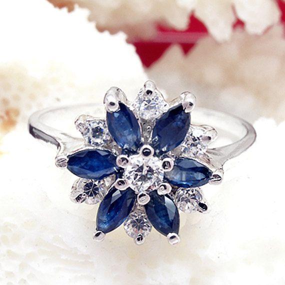 Genuine Blue Sapphire Sliver Ring, Birthdays, Wedding. Anniversary, Valentine, Bridemaid, Christmas, Special Occasions