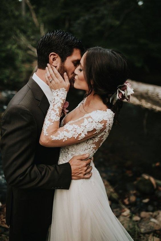 long sleeve wedding dress. pretty.