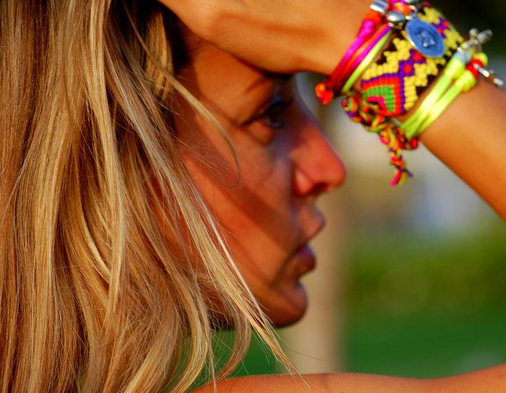 Bracelets Summer Fluorine by Milú    www.milubracelets.com    #handmade #she #milubracelets #blogger #nice #pretty #silver #sun #colorful #fluor