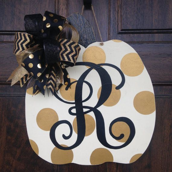 Gold Polka Dot Pumpkin Door Hanger by KnockKnockRVA on Etsy
