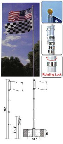 6 foot aluminum flag pole