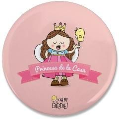 "Princesa de la Casa 3.5"" Button> Birdie's Buttons & Magnets> Birdie Says"